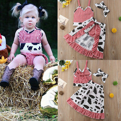 Toddler Baby Kids Girls Tops Cow Shorts Pants Skirts Outfits Clothes US - Cow Outfits