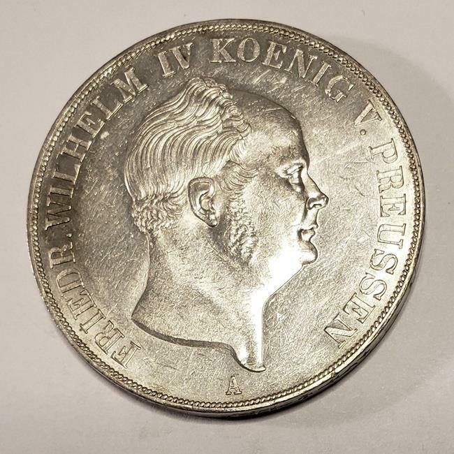 2 Thaler 1855 Prussia German States King Fr. Wilhelm IV Silver AU