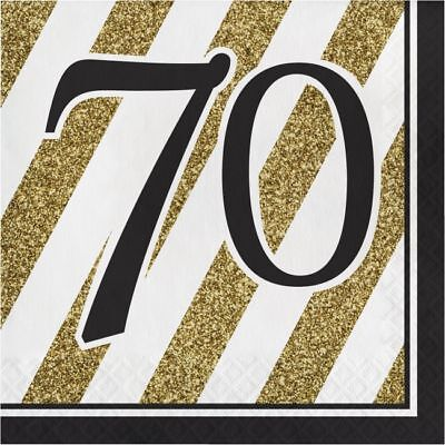 Black and Gold 70th Birthday Lunch Napkins 70th Birthday Party Decoration