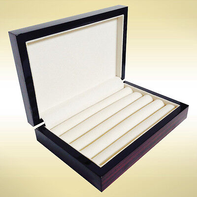 WOOD CUFFLINK RING STORAGE BOX CUFF LINKS MENS JEWELRY DISPLAY CASE EBONY 4091EB