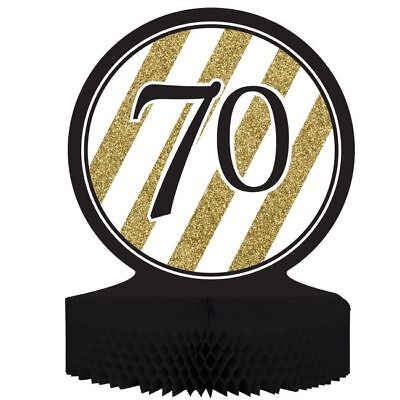 Black and Gold 70th Birthday Honeycomb Centerpiece 70 Birthday Party Decoration
