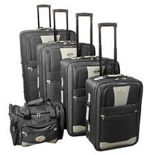 Transworld 5-piece Expandable Wheeled Upright Luggage Set - Black