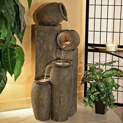 Water Fountain Indoor Outdoor Fountains Halogen Lights Electric Deck Patio Decor - Indoor Outdoor Fountains