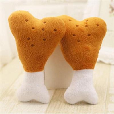 Pet Puppy Cat Dog Chew Squeaker Squeaky Plush Sound Chicken Leg Bone Toy QK