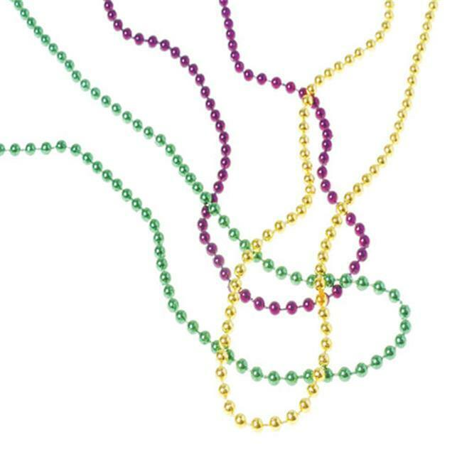 US Toy Company OD440 Mardi Gras Met Bead Necklaces - Pack of 144