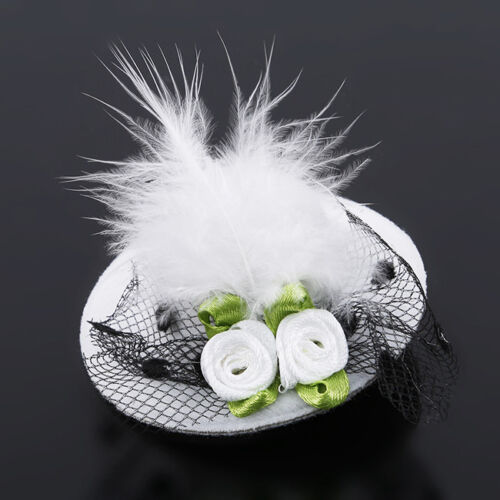 Girls Kids Mini Hair Accessories  Flower Rose Veil Pillbox H