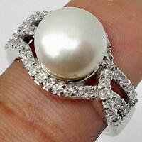 WHITE PEARL WITH WHITE TOPAZ ACCENTS 925 SILVER RING SZ  7