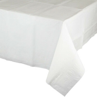 White 2/Ply Paper-Poly Banquet Tablecloth 54