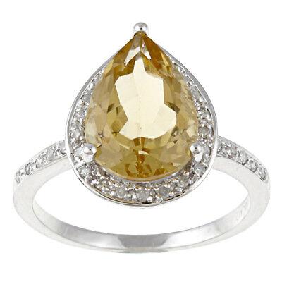 White Gold Pear Shape Citrine and Diamond Ring (1/5 TDW)