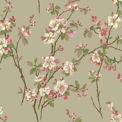 - Wallpaper Raised Ink Cherry Blossoms Floral Red Green Pink on Pealized Beige