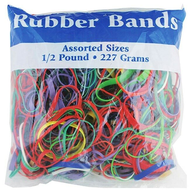 465 BAZIC MULTICOLOR ASSORTED RUBBER BANDS LARGE MEDIUM SMALL SIZES & THICKNESS
