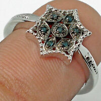 7 BLUE DIAMONDs Hallmarked 925 SILVER RING Size 7