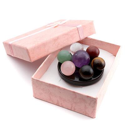 Natural Healing 7 Chakra Ball Stones Fengshui Seven-Star Array Plate Set Decor