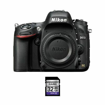 Nikon D610 DSLR Camera w/32GB SDHC Card