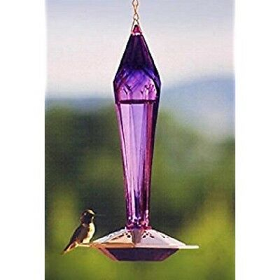 Schrodt Designs AMETHYST FACETED GLASS HUMMINGBIRD FEEDER, F