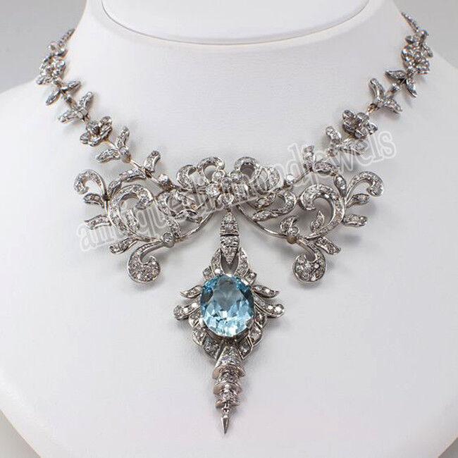 8.25ct ROSE CUT DIAMOND BLUE TOPAZ ANTIQUE VICTORIAN LOOK 925 SILVER NECKLACE