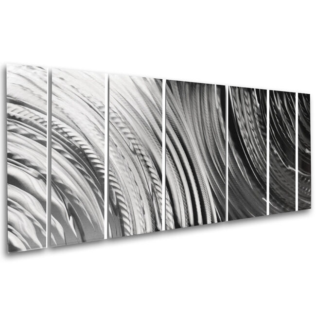 Silver Wall Art Panels Large Metal Wall Decor Modern Abstract Contemporary Home