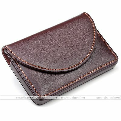 Pu Leather Business Name Credit Id Card Holder Wallet Case Keeper Coffee