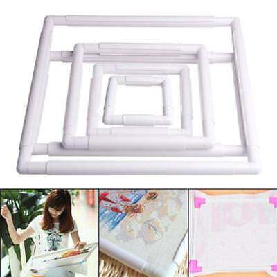 Rectangle Clip Plastic Embroidery Frame Cross Stitch Hoop Stand Lap Supplies D (Hand Embroidery Supplies)