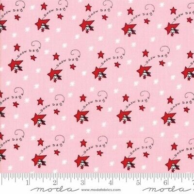 Merry Merry Snow Days Fabric 2940-15 Christmas Red Stars on Pink Premium Cotton ()