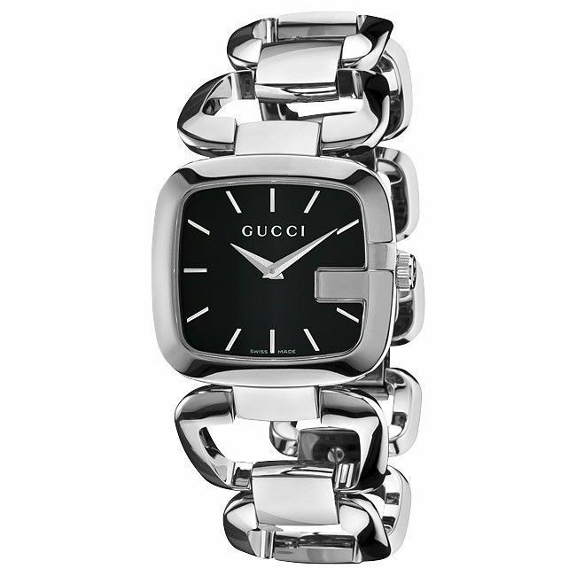 73a6ef56a60 Gucci YA125407 Womens 125.4 Series Silver Tone Stainless Steel Black Dial  Watch