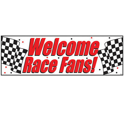 Welcome Race Fans Giant Banner Car Racing Birthday Party Decoration - Giant Party Banner