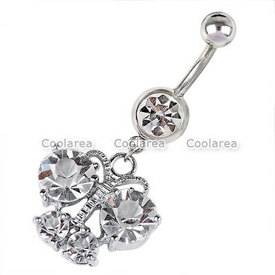 - 1x Stainless Steel 14G Clear Crystal Butterfly Belly Navel Button Ring Piercing