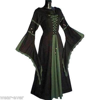 KLEID MITTELALTER schwarz dunkelgrün S M XL XXL XXXL #6172 grün Gewandung Kostüm