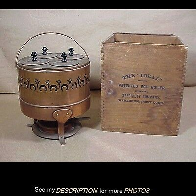 1891 Ideal Egg Broiler / Cooker Orig Wooden Box Specialty Co Warehouse Pt Ct