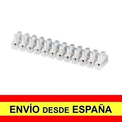 Regleta de 12 Secciones Conexiones Eléctricas 6 mm 6 Amperios Blanca a3433