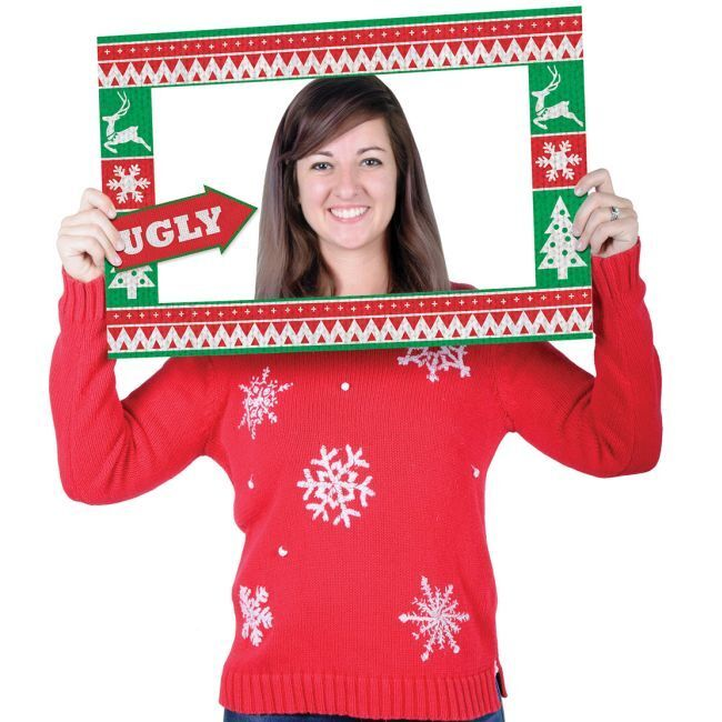 Ugly Christmas Sweater Photo Fun Frame Photo Booth Prop Party Decorations