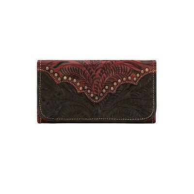 American West Womens Annie's Secret Ladies' Tri-Fold Wallet Distressed Crimson