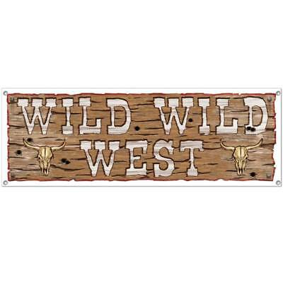 Wild Wild West All-Weather Sign Banner Western Ranch Horse Theme Party Decor](Horse Theme Party Supplies)