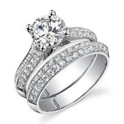 14k White Gold Wedding Ring Set