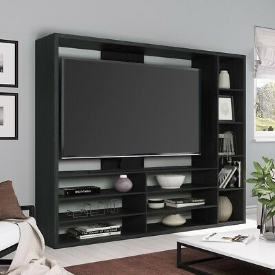 Black Wall Unit TV Stand Large Entertainment Center Storage Console Flat Screen  ()