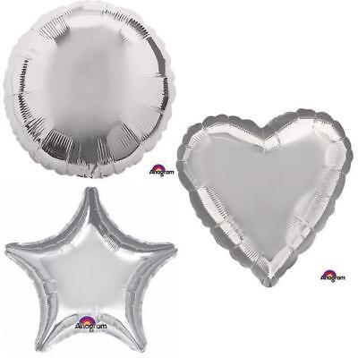 SILVER METALLIC HEART STAR CIRCLE FOIL BALLOON DECORATOR BIRTHDAY BALLOONS