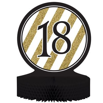 Black and Gold 18th Birthday Honeycomb Centerpiece 18 Birthday Party Decoration - 18th Birthday Centerpieces