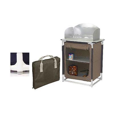 Camping Kocher- Küchenschrank Terra mit Windschutz,Camping,Garten,Party NEU