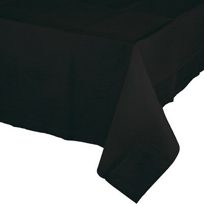 Black Paper Tablecloths (Black 2/Ply Paper-Poly Banquet Tablecloth)