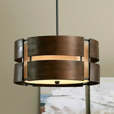 Wood Light Fixture Walnut Hanging Lamp Dining Room Entry Chandelier Rustic Shade
