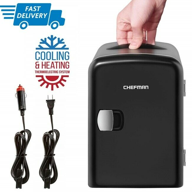 Chefman Mini Portable Compact Personal Fridge Cools & Heats,