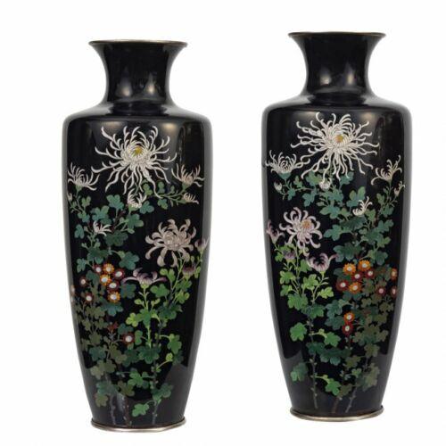 Fine Pair of Antique Japanese Cloisonne Vases