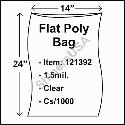1000 1.5-Mil 14x24 Clear Poly Bag Open Top Lay Flat Packaging 121392