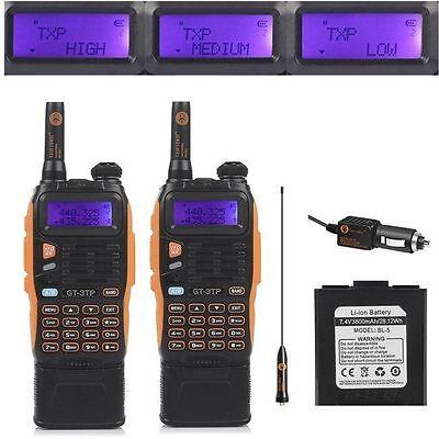 2x *3800mAh* Battery Baofeng GT-3TP MarkIII 8W Dual Band V/UHF Ham Two-way Radio