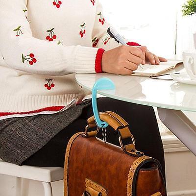 Blue geometric flowers Design Pattern Foldable Handbag Hanger Folding Purse Holder Hooks Womens Bag Storage