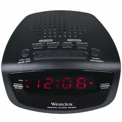 Westclox Digital Electric AM FM Dual Alarm Clock Radio Station Presets Black