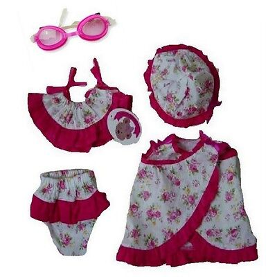 Pink Frilly Floral Beach Set fitting Build a Bear Teddies of 16 inches.