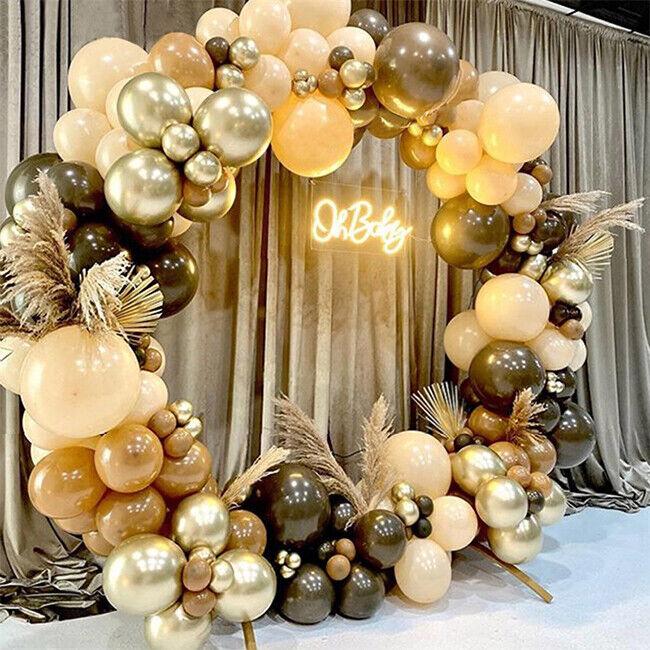 102Pcs Brown Metallic Gold Latex Balloon Arch Garland Kit Wedding Birthday Party