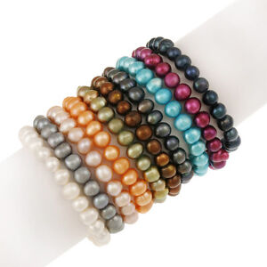 Set of 10 Multi colored Pearl Stretch Bracelets (8-9mm)