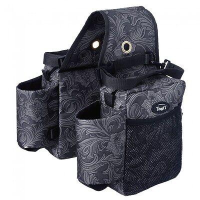Tough 1 nylon tooled black leather pattern saddle bag/water bottle holder